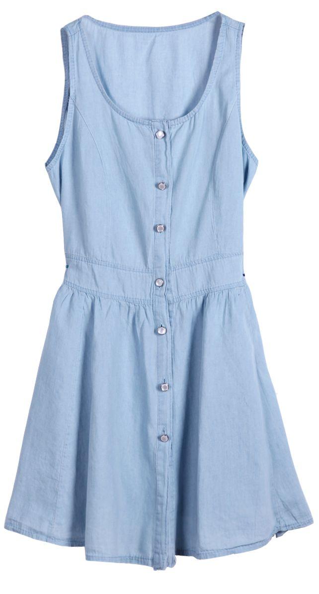 Light Blue Scoop Neck Sleeveless Buttons Denim Dress