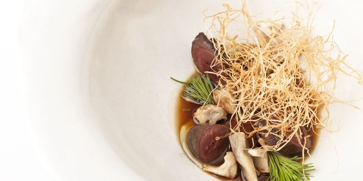 Duck hearts with mushroom floss and spiced broth by Nuno Mendes