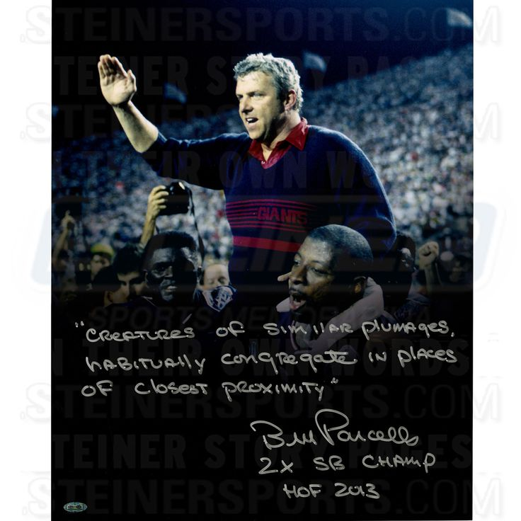 Bill Parcells Carried off by Banks and LT after SB XXV Signed & Inscribed 'Creatures of Similar Plumages…..' 16x20 Story Photo