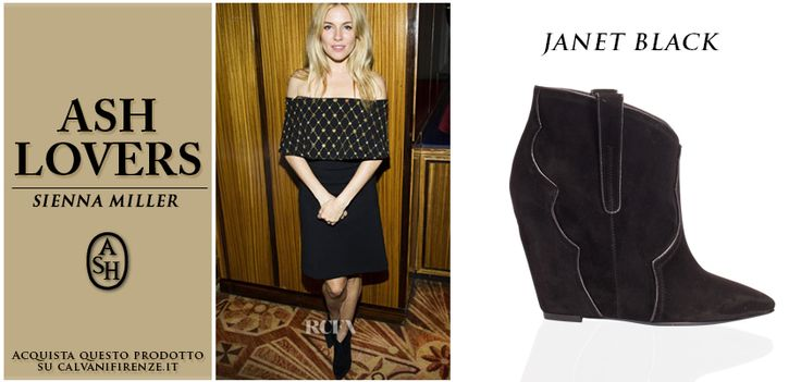"L'attrice inglese #SiennaMiller indossa gli #ankleboots di #Ash ""Janet"" in suede con zeppa!"