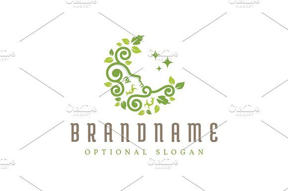 For sale. Only $29 - green, plant, nature, leaf, life, artistic, forest, star, face, moon, sleep, dream, grow, vine, garden, spirit, crescent, sprout, herb, foliage, night, gardening, floral, lunar, beauty, spa, wellness, wood, logo, design, template,