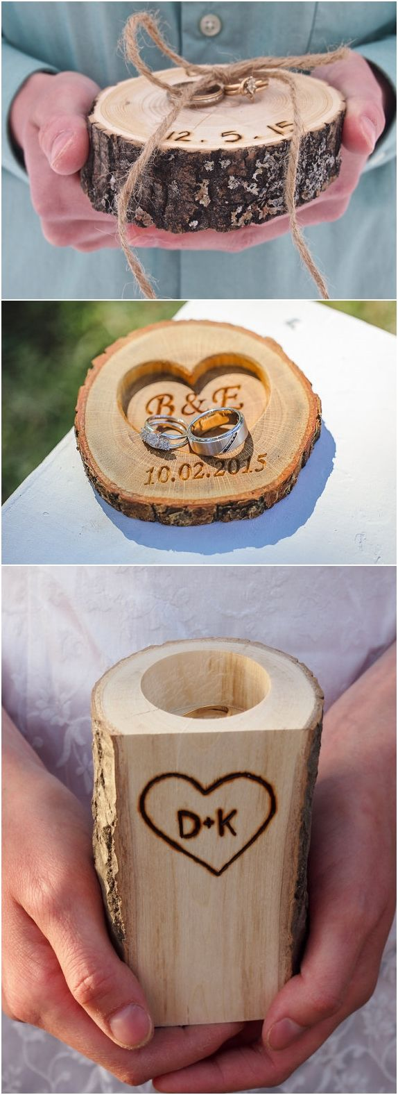 rustic tree stump wedding ring holder ideas / http://www.deerpearlflowers.com/rustic-woodsy-wedding-trend-tree-stump/ #rustic #rusticwedding #countrywedding #weddingideas