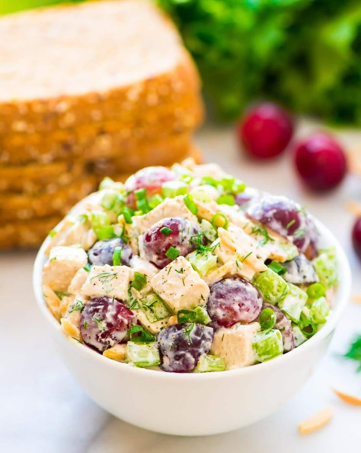 Skinny Greek Yogurt Chicken Salad with dill, grapes, celery, and almonds. An easy, healthy version of classic chicken salad. Creamy, cool and crunchy!