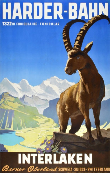 a vintage tourism-ad for the Harder at Interlaken/Switzerland