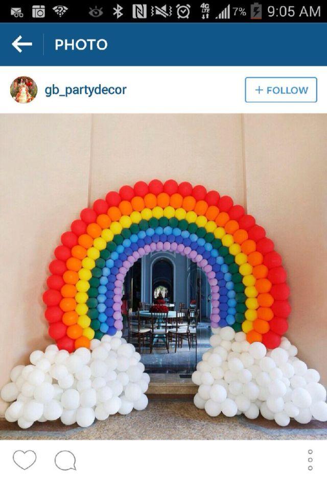 Rainbow Balloon Arch Entrance