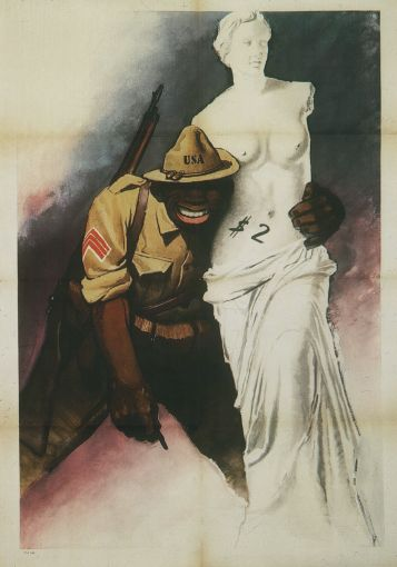 """Italian poster, Gino Boccasile,1944. An untitled work depicting """"coloured"""" American soldiers as barbarians."""