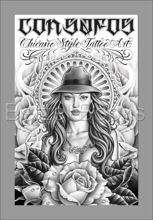 CON SAFOS Chicano Style Tattoo Art BLACK GREY TATTOO STREET DESIGNS