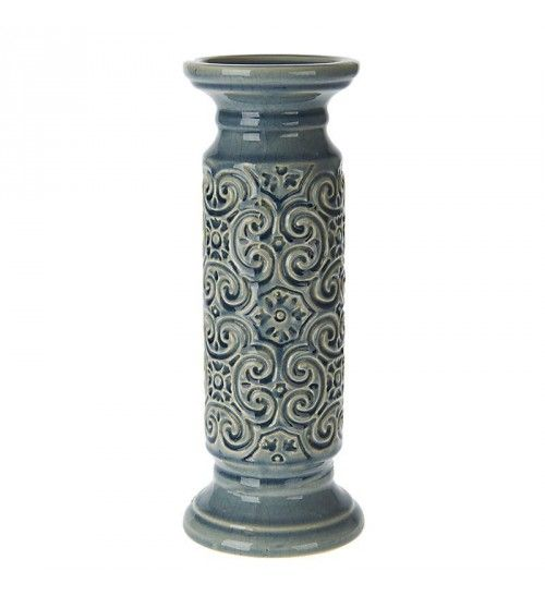 CERAMIC CANDLE HOLDER IN LIGHT BLUE COLOR 12X12X32
