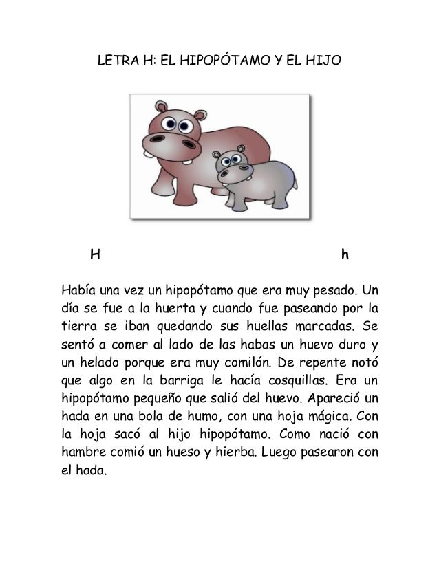 Cuentos Cortos Para Niños Con La Letra H Hábitos De Niños