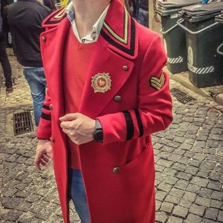 NWT ZARA MAN RED MILITARY COAT Size L Ref. 9621/304 #Zara #BasicCoat