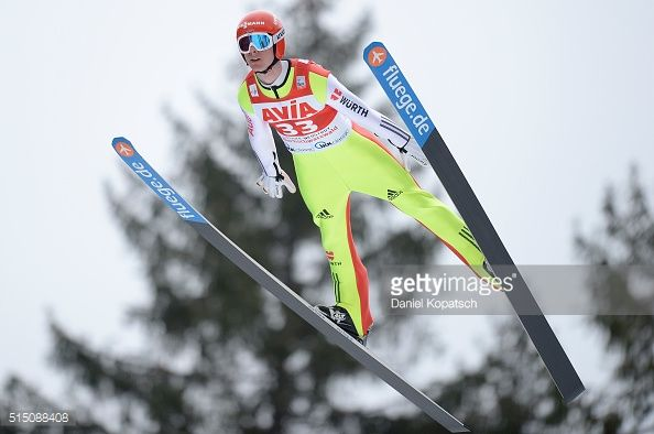 Andreas Wank of Germany jumps during the first round of the FIS Ski Jumping Worldcup on March 12 2016 in TitiseeNeustadt Germany