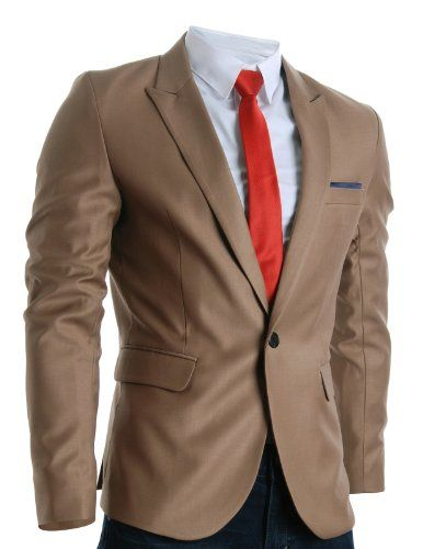 FLATSEVEN Mens Designer Slim Fit Stylish Peaked Lapel Blazers Brown, Boys L (Chest 36) http://www.flatsevenshop.com/blazers/ # FLATSEVEN #mensfashion #clothing #fashion #men #jacket