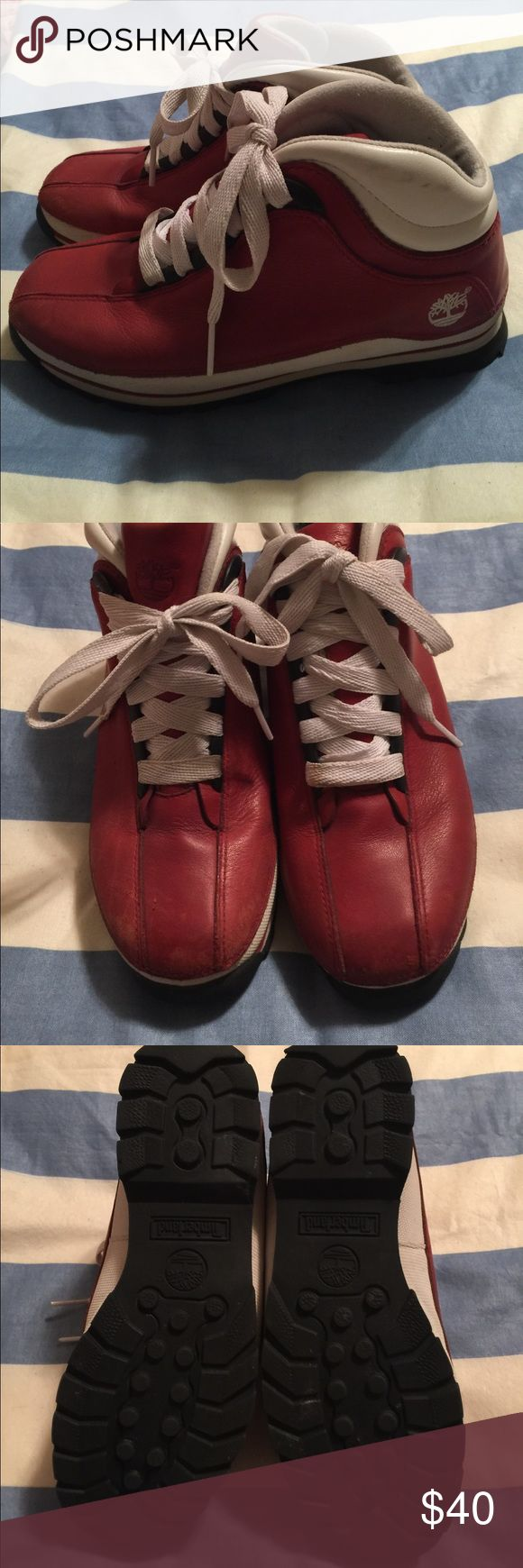 Timberland Hiking Boots Red Timberland Hiking Boots. Size 9 in women's. Has some wear from use but still in great condition. What wear they have is shown in pictures. Timberland Shoes Ankle Boots & Booties