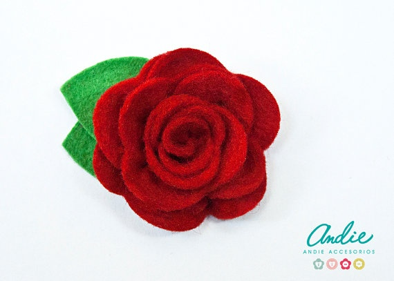 Red Felt Rose Brooch   Lovely Rose In Bright by andieaccesorios, €5.00