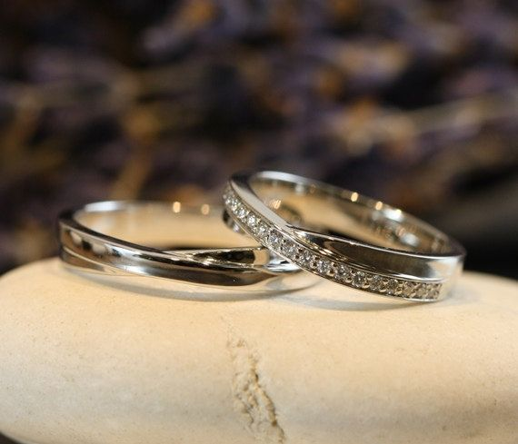 His and Hers Matching Wedding Bands 14k White Gold by LaMoreDesign, $1268.00
