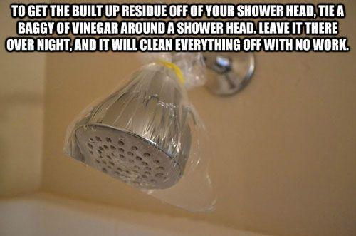 Para eliminar los residuos de la alcachofa de la ducha, ata una bolsa de plástico llena de vinagre alrededor, déjala así durante la noche, y todo quedará limpio sin ningún esfuerzo.