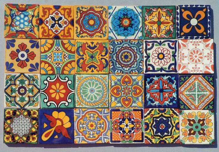 "48~MEXICAN TALAVERA POTTERY 4"" tile Hand Painted clay Mexico folk art + Italy CD"