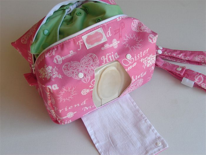 Modern Cloth Nappy Wallet with wetbag and hand sanitiser holder