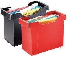 DECOFLEX PLUS ROJO O NEGRO. Cajetín de archivo y plástico resistente, suministrado con 8 carpetas colgantes A4.