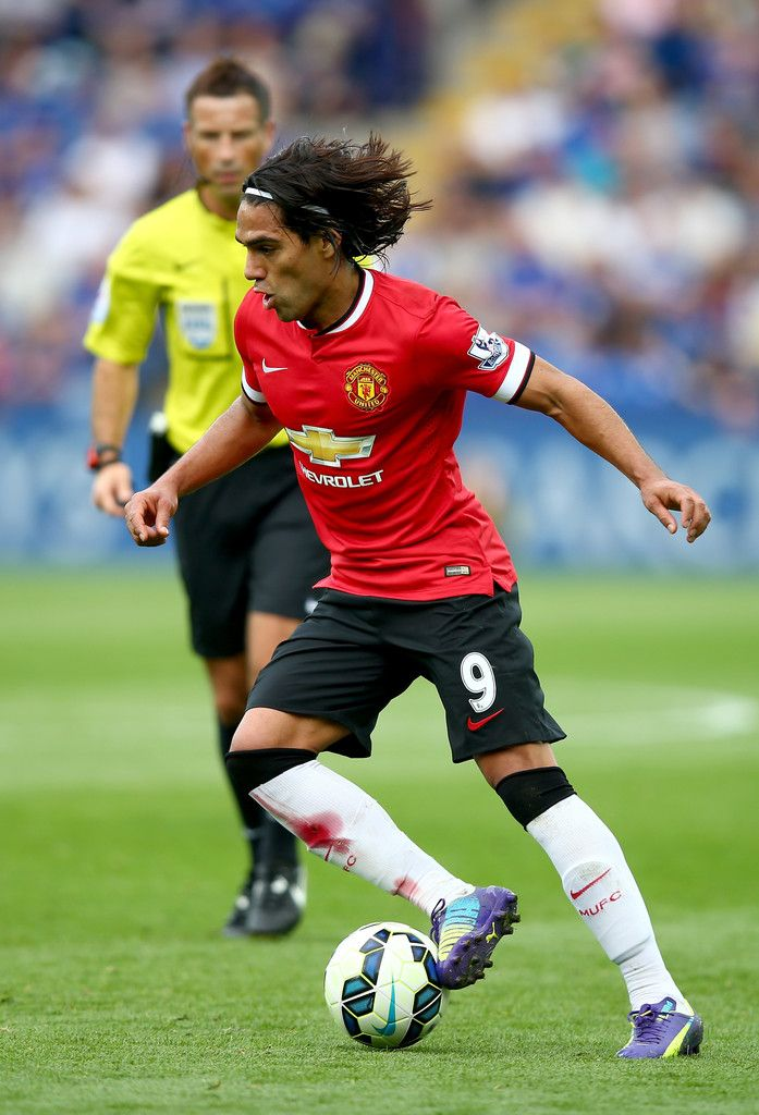 Radamel Falcao Garcia of Manchester United runs with the ball during the Barclays Premier League match between Leicester City and Manchester United at The King Power Stadium on September 21, 2014 in Leicester, England.