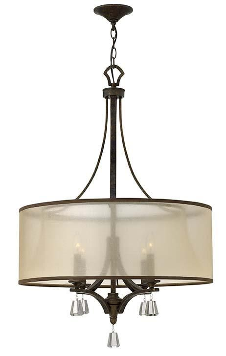 Candlelight & Log in Saginaw, Michigan, United States,  5R8U, Four Light Bronze Drum Shade Chandelier, MIME, Bronze - French Bronze - Shade - Translucent Amber