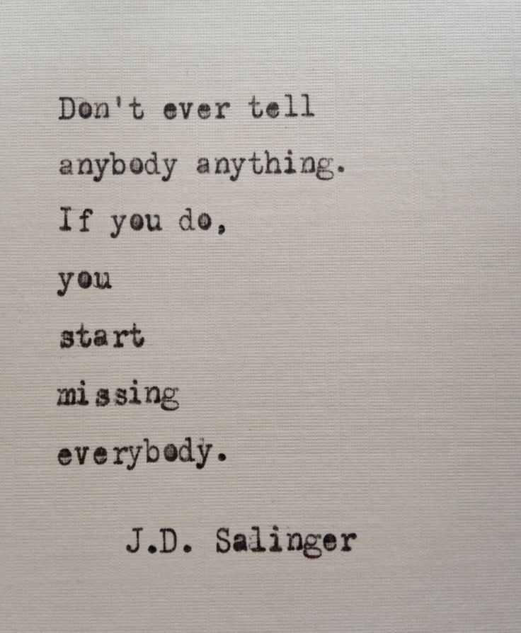 Salinger quote hand typed on antique typewriter