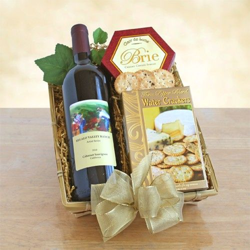 California Wine and Cheese   Send best wishes for any occasion with this classic California combination of Cabernet Sauvignon, crackers and cheese. Presented in an elegant but simple woven basket, this delicious Regalo Family Ranch Cabernet will be enjoyed along with Three Pepper water crackers and creamy cheese.