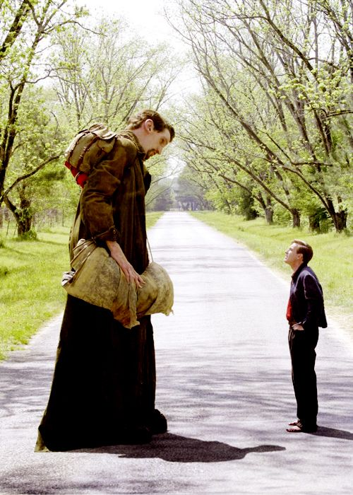 Matthew McGrory and Ewan McGregor in Tim Burton's, Big Fish 2003.