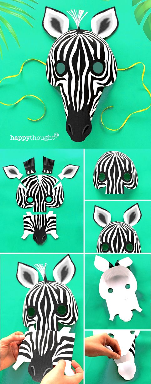 Go Wild with a printable Zebra mask - easy templates at https://happythought.co.uk/product/printable-wild-animal-masks