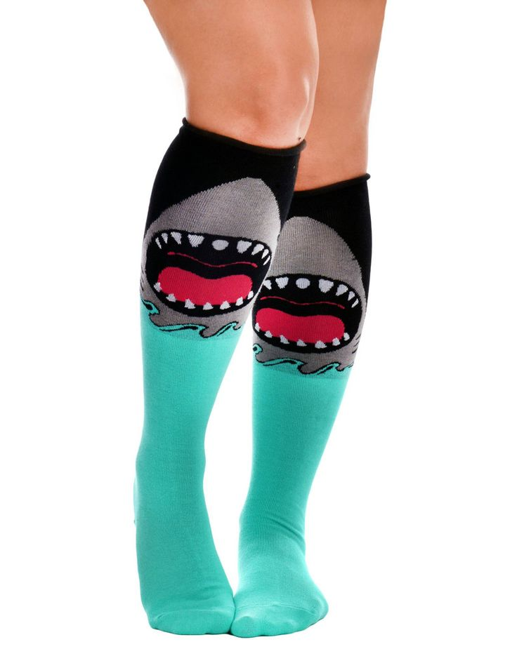 Rolled over the Knee Socks - Jaws PREORDER