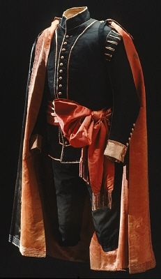 """National uniform"" of Sweden c.1800. Love all the piping."