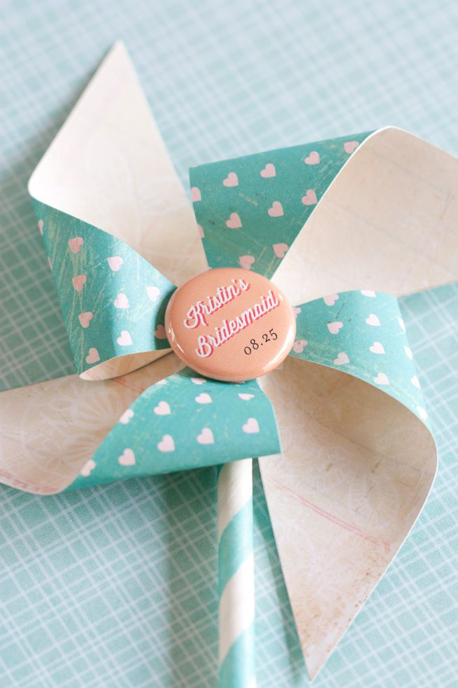 DIY Pinwheels with Personalized Pin-Back Buttons from Evermine #weddings