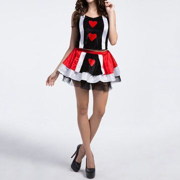 Halloween Sexy Women Fairy Tale Cosplay Lace Hearts Printing Attractive Costumes at Banggood