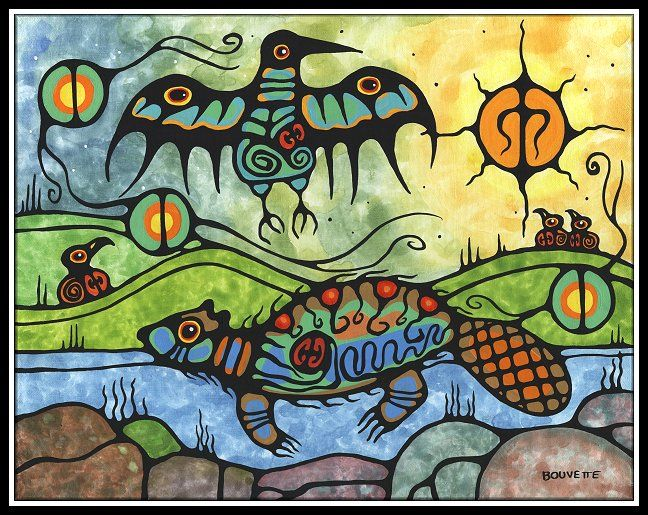 idea for art assignment-Native American Style Woodland Painting showing a Swimming Beaver and a Messenger Bird with many lives and spirits in sight.