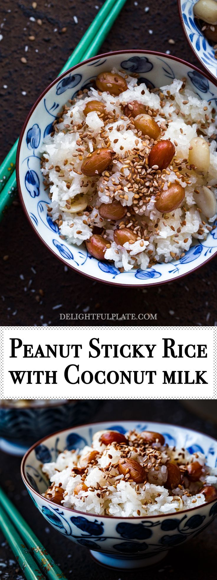 Vietnamese Peanut Sticky Rice (Xoi lac dua) features soft-chewy sticky rice, buttery boiled peanuts, creamy coconut milk and nutty toasted sesame seeds. It is a delicious and satisfying breakfast. #vietnamese #rice #breakfast