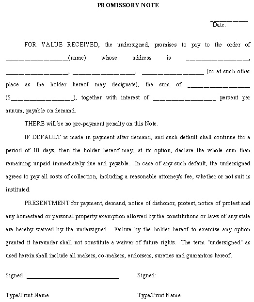 promissory agreement template 12 promissory note templates free word