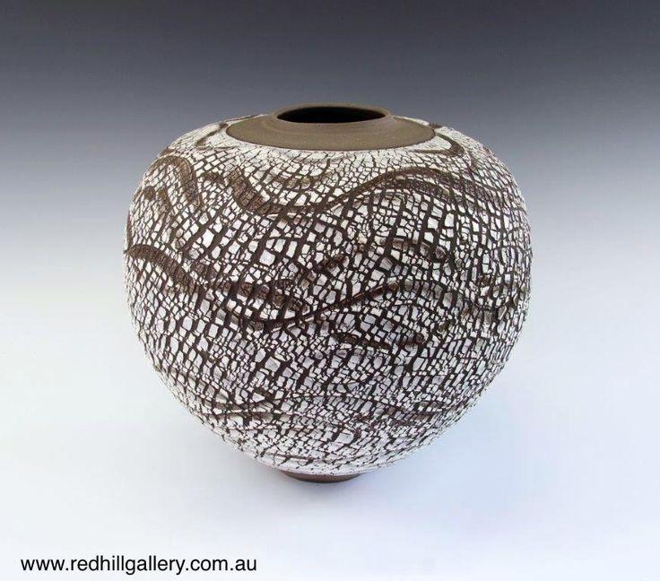 Bill Powell 'Gloss White Textured Blossom Vase' 36x32cm. 61 Musgrave Road, Red Hill Brisbane, QLD, Australia. art@redhillgallery.com.au