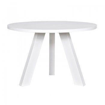 Witte eettafel Stek Vestal 129 rond | ronde eettafel wit | massief hout | RAL9010
