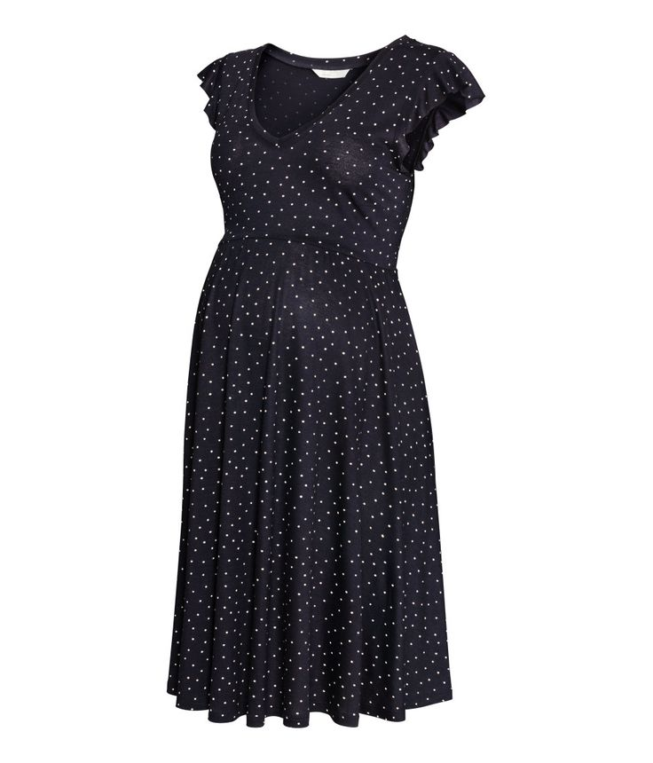 Check this out! Short, sleeveless dress in patterned viscose jersey with a V-neck, seam under the bust and flare to the hem. - Visit hm.com to see more.