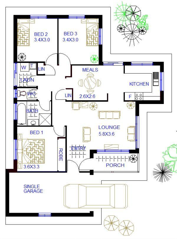 3 Bedroom Home Plans 3 Bedroom Home Plans 2021 Floor Plan For A Small House 1 150 Sf With 3 Bedroom In 2021 Bungalow Floor Plans Unique House Plans House Floor Plans Simple house plan with 3 bedrooms