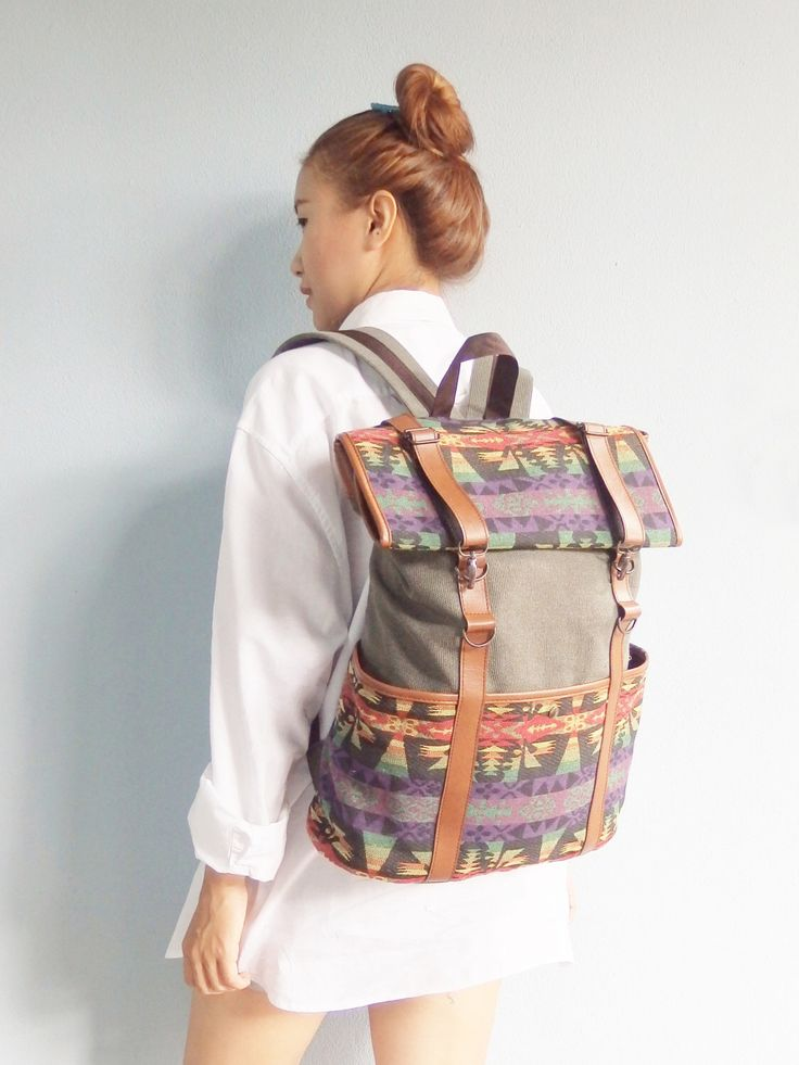 Rucksack Backpack / backpack with roll up top lightweight luggage / Gunny Tribal Boho Abstract Native Design Handwoven Handmade : Green by MAMIEBAG on Etsy https://www.etsy.com/listing/243450152/rucksack-backpack-backpack-with-roll-up