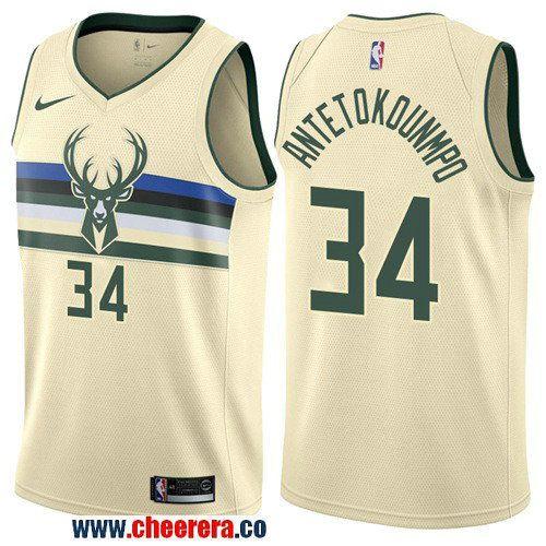 pretty nice c38c2 11a93 Men's Nike Milwaukee Bucks #34 Giannis Antetokounmpo Cream ...