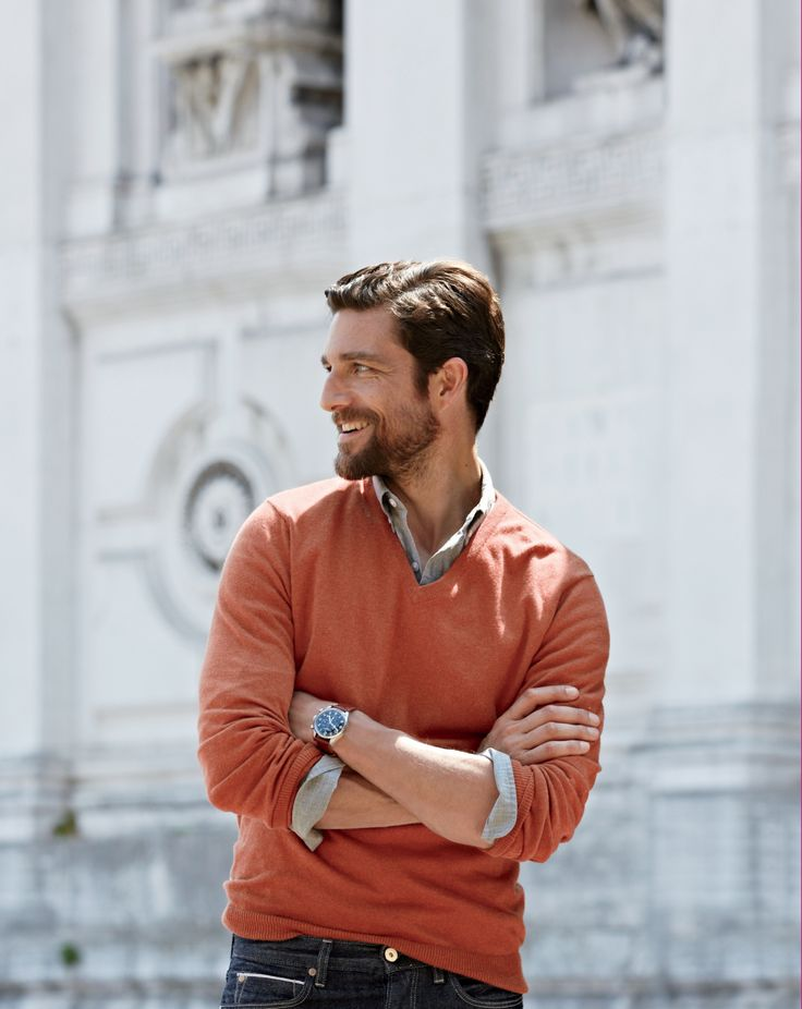 J.Crew cotton cashmere V-neck sweater for men. Could go with some small v neck or crew neck sweatshirts :-)