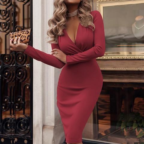 Women Sexy Deep V-neck Wrap Dress 2019 Spring Long Sleeve Solid Bodycon Party Dress Elegant Knee-Length Pencil Dresses Vestidos