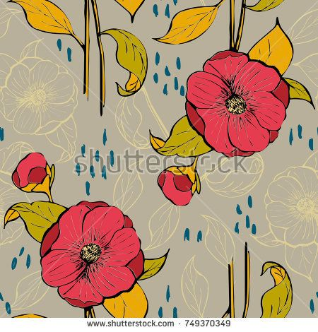 Seamless vector pattern with floral design with alcea rosea flower for paper cover, backgrounds and textile