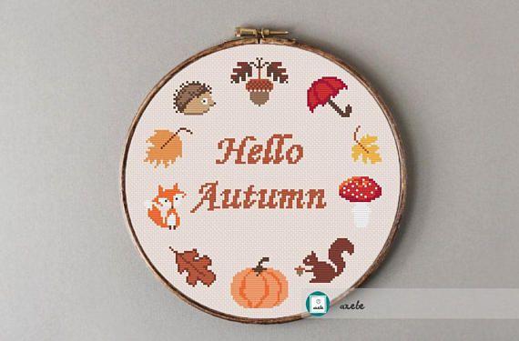 Hello autumn wreath cross stitch pattern modern cross stitch