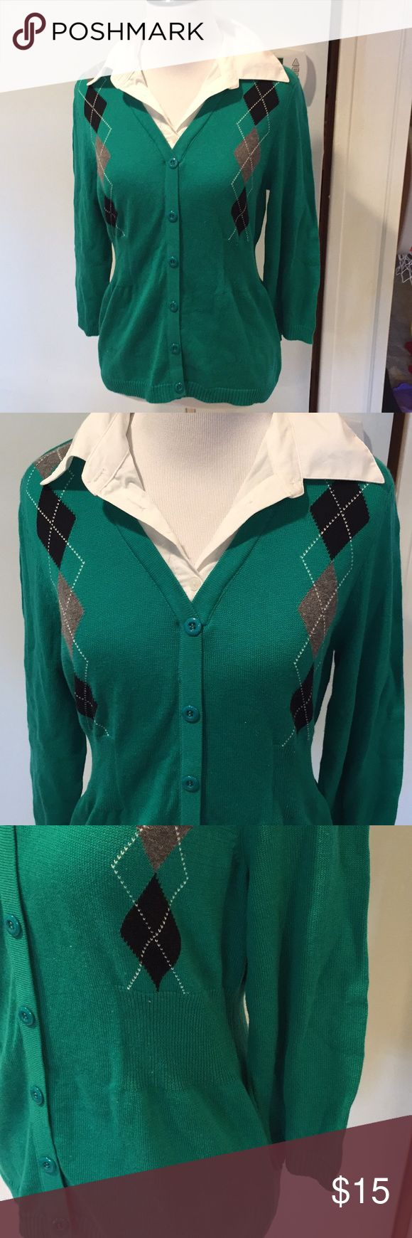 NWOT Preppy Career Top NWOT Preppy Career Top. Button down Cardigan with Sewn In White Button Down Shirt inside. Side and back sweater paneling define waist. Pretty color makes this easy work look!! Elementz Tops