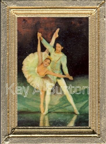 A dolls house miniature painting depicting two ballet dancers performing on stage.  A lovely painting for a dolls house bedroom or sitting room.  Size approx. 50mm x 70mm (2