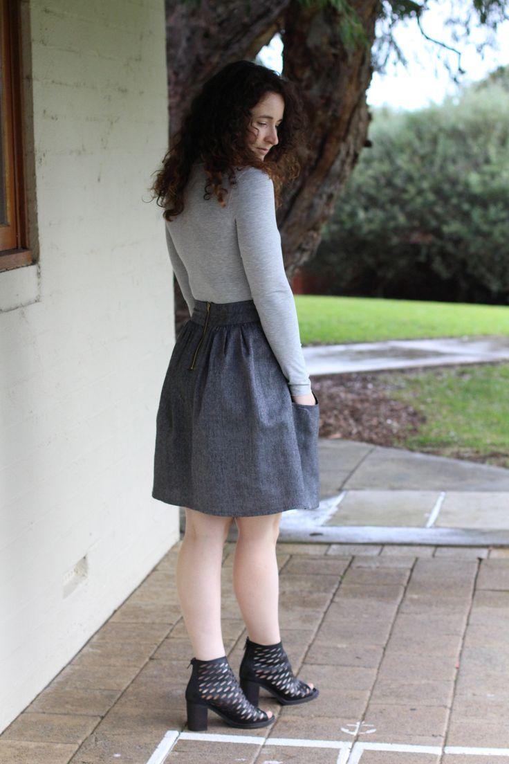 Megan Nielsen Rowan turtleneck bodysuit and Brumby skirt