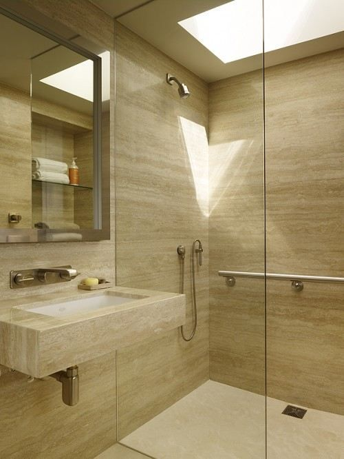 Cuartos De Baño En Beige:Vein Cut Travertine Tiles Bathroom